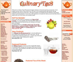 Screenshot of Culinary Teas Home Page