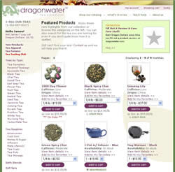 Screenshot of Dragonwater Tea Company Home Page